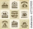 Vintage Organic Farming Labels Set. Editable EPS10 vector illustration in retro woodcut style with clipping mask and transparency.