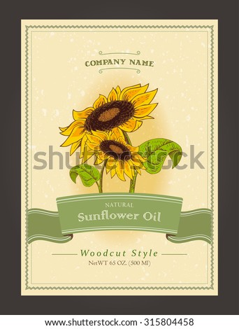 Vintage organic labels for sunflower oils. Vector harvest template in woodcut style. Fully editable EPS10 vector. - stock vector