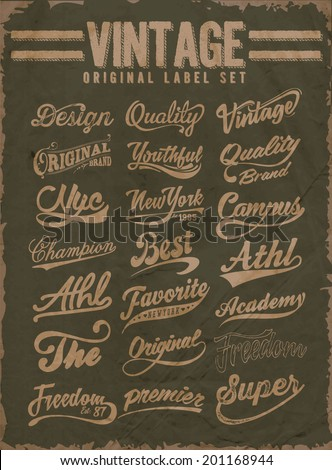 vintage original label set - stock vector