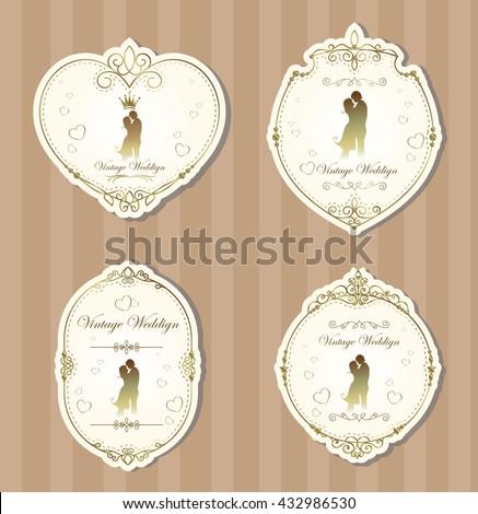 Vintage Ornament Elements labels wedding set - stock vector
