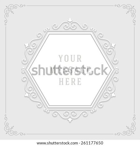 Vintage ornament from cut paper and shadow, border frame decoration, flourishes calligraphic ornamental swirls for greeting cards, labels, invitations, posters, badges. Vector background. - stock vector