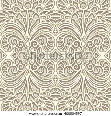 Vintage ornament, lace texture, vector seamless pattern