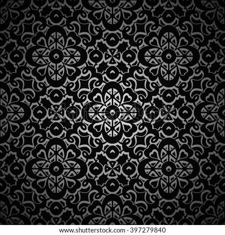 Vintage ornamental background,  black vector pattern - stock vector