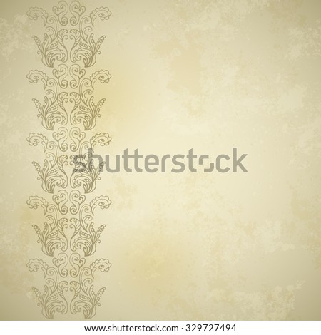 Vintage ornamental border on stained old paper textured background. Parchment texture. Vector EPS 10. - stock vector