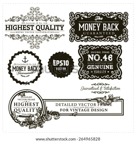 vintage ornamental collection - stock vector