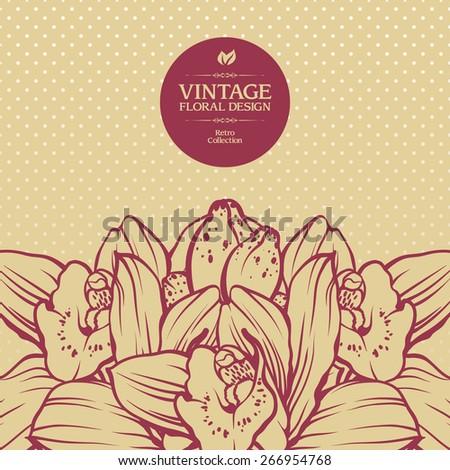 Vintage ornamental frame floral background design. Vector botanical illustration. Template card invitation banner with exotic flowers. Sketch linear orchid flowers - stock vector