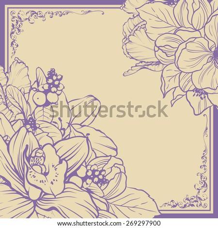Vintage ornamental frame floral background design. Vector botanical illustration. Template card invitation banner with beautiful flowers. Sketch linear blooming garden - stock vector