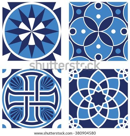 Vintage Ornamental Pattern in tones of blue. - stock vector