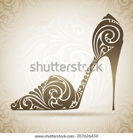 Vintage ornamental shoe. Decorative icon on a background with pattern  - stock vector
