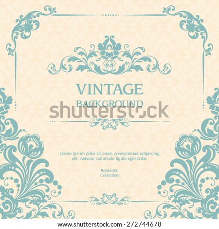 Vintage ornamental template with pattern and decorative frame