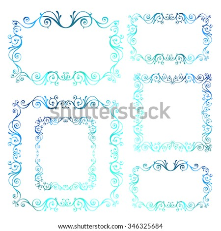 Vintage ornamental vector frames. Blue calligraphic winter New Year theme. Christmas swirl decoration isolated on white. - stock vector