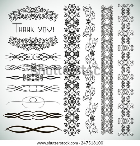 Vintage ornaments and dividers. Curb. frame. - stock vector