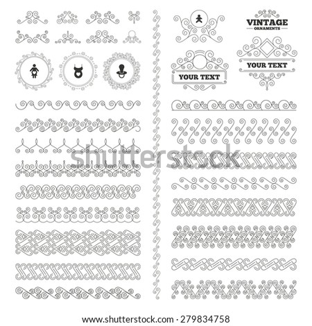 Vintage ornaments. Flourishes calligraphic. Maternity icons. Baby infant, pregnancy and dummy signs. Child pacifier symbols. Shirt with heart. Invitations elements. Vector - stock vector