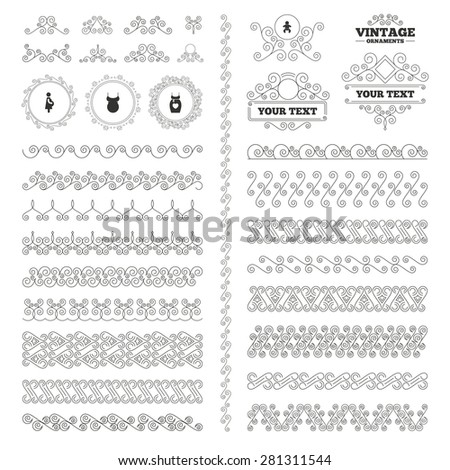 Vintage ornaments. Flourishes calligraphic. Maternity icons. Baby infant, pregnancy and shirt signs. Dress with heart symbol. Invitations elements. Vector - stock vector
