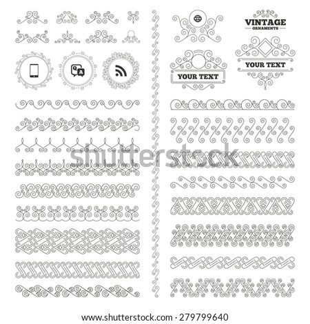 Vintage ornaments. Flourishes calligraphic. Question answer icon.  Smartphone and Q&A chat speech bubble symbols. RSS feed and internet globe signs. Communication Invitations elements. Vector - stock vector