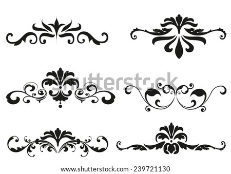 vintage ornaments with floral elements - stock vector