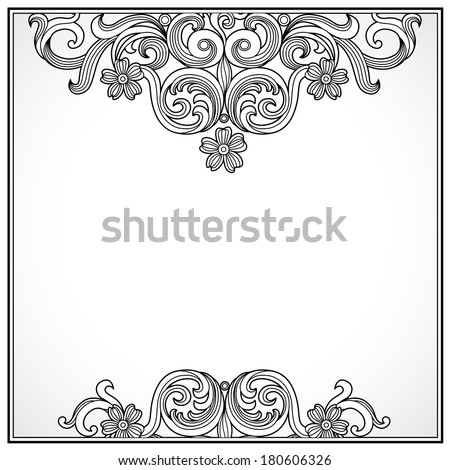 vintage ornate border place text ornamental stock vector 180606326
