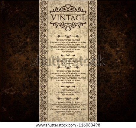 vintage ornate card design for greeting card, menu, cover, invitation. - stock vector