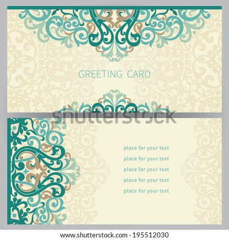 Vintage ornate cards in east style. Colorful Victorian floral decor. Template frame for greeting card and wedding invitation. Ornate vector border and place for your text. - stock vector