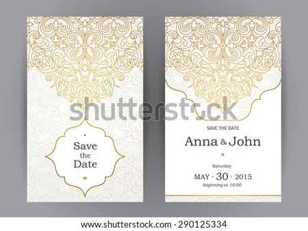 Vintage ornate cards in oriental style. Line art  Eastern floral decor. Template frame for birthday and greeting card, wedding invitation. Vector golden border, place for text. Easy to use, layered. - stock vector