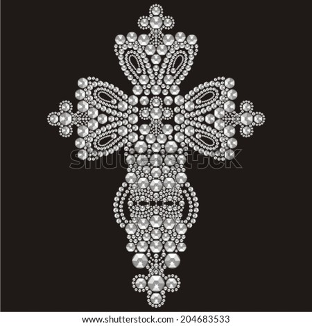 Vintage Ornate Christian Cross Brilliant Stones Stock ...