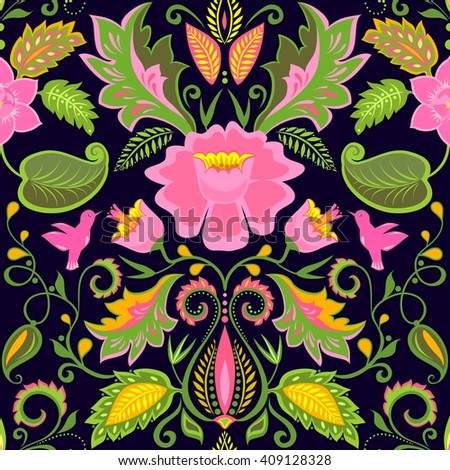 Vintage ornate floral wallpaper with exotic flowers and birds - stock vector