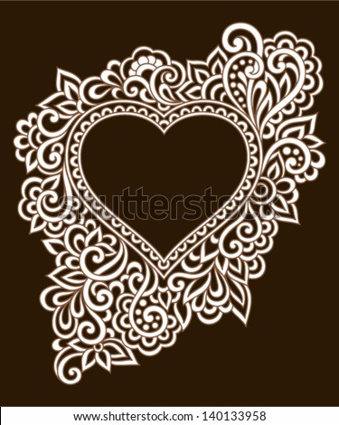 Vintage ornate frame with doodle elements. Pattern heart for wedding or Valentine's day - stock vector