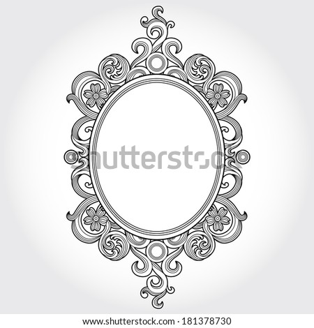 Vintage ornate frame with place for your text. Victorian floral decor. Save the date. Template frame design for greeting card and wedding invitations, decoration for bags and clothes. - stock vector