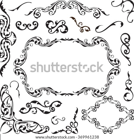 Vintage ornate set is isolated on white