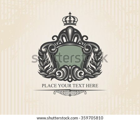 Vintage ornate shield  - stock vector