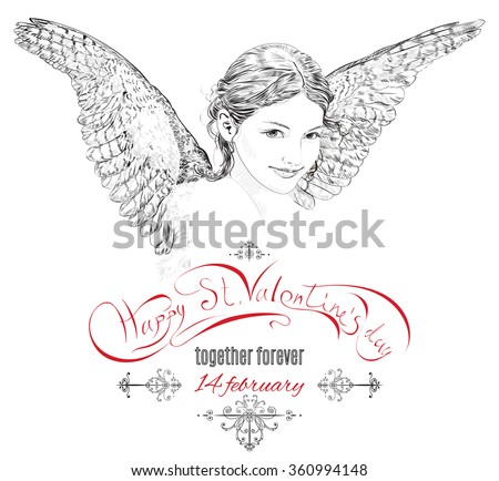 Vintage ornate Valentine`s day design with hand drawn beautiful angel. Can be used as greeting card, wedding, engagement , holiday, t-short and tattoo design. Vector illustration. - stock vector