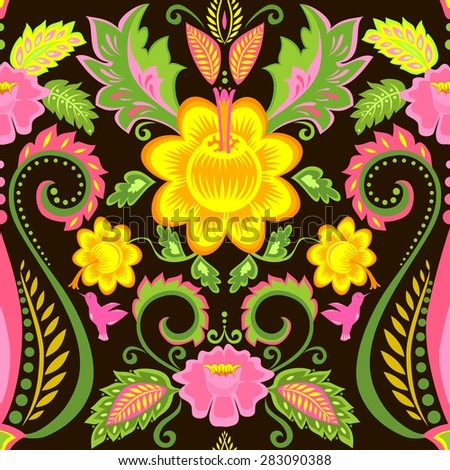 Vintage ornate wallpaper with floral pattern - stock vector