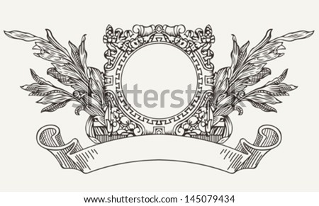 Vintage Ornate Wreath And Scroll Banner - stock vector