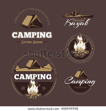 Vintage outdoor adventure and camping color labels  logos set. Vector illustration - stock vector