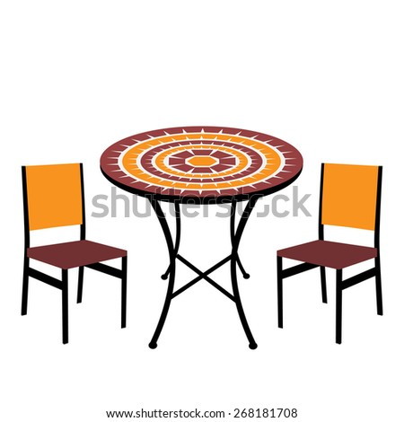 Vintage outdoor table and chairs isolated,  round table and chairs vector - stock vector