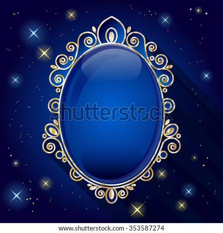 Vintage Oval Frame. Sapphire ring on starry background. Vector EPS 10. - stock vector
