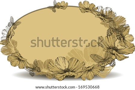 Vintage oval frame with flowers and butterflies. Vector illustration - stock vector