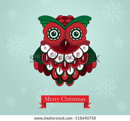 Vintage Owl with snowflake background and Christmas greeting - stock vector