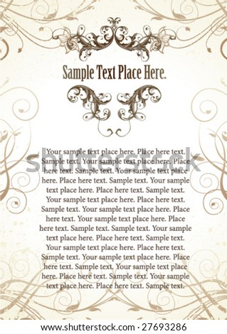 Vintage page design - stock vector