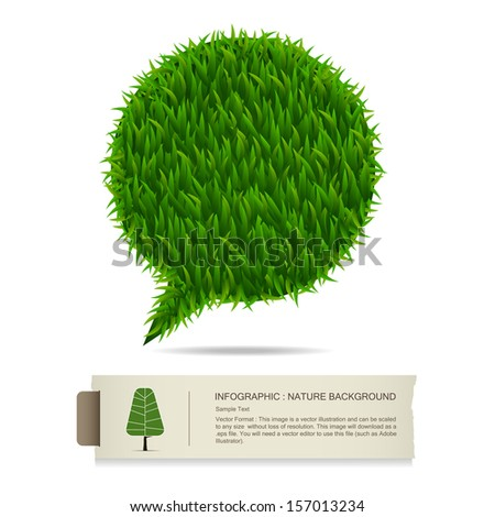 Vintage paper banner background and green grass bubble, Natural banner idea concept - Vector illustration - stock vector