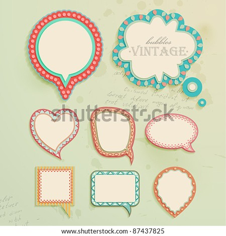 Vintage paper bubbles for speech. Vector illustration. - stock vector