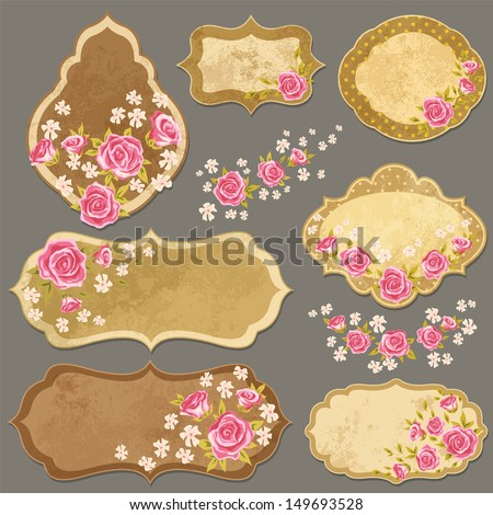 Vintage paper labels set with rose in shabby chic style. Vector illustration with paper elements and flowers. - stock vector