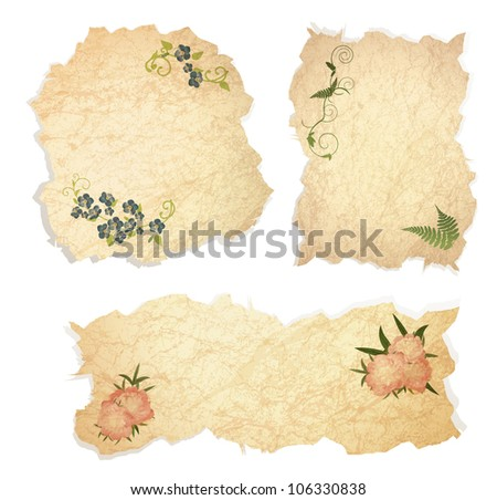 Vintage paper pieces with floral decoration over white background - stock vector