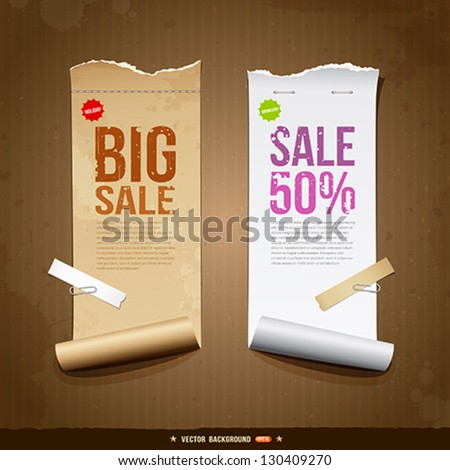Vintage paper roll ripped brown paper and white paper for business design, vector illustration - stock vector