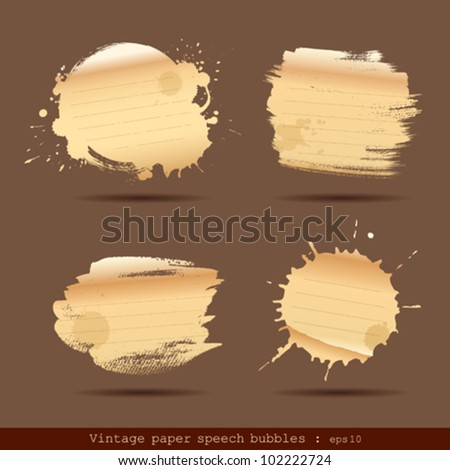 Vintage paper speech bubble paint brush texture. vector illustration - stock vector
