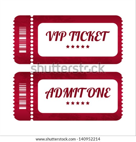 vintage paper tickets with special design - stock vector