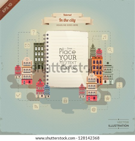 Vintage paper with set of network icons in the city.(lined paper or note paper). EPS10 - stock vector
