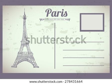 Vintage Paris postcard  - stock vector