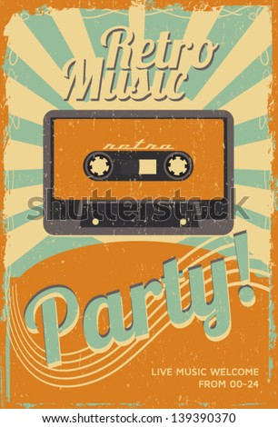 Vintage party poster - stock vector
