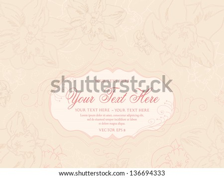 Vintage pastel background with hand drawn flowers, vector eps 8